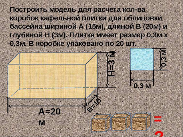 Построить модель для расчета кол-ва коробок кафельной плитки для облицовки ба...