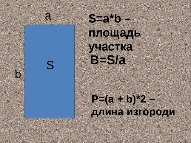 a b S P=(a + b)*2 – длина изгороди S=a*b – площадь участка B=S/a