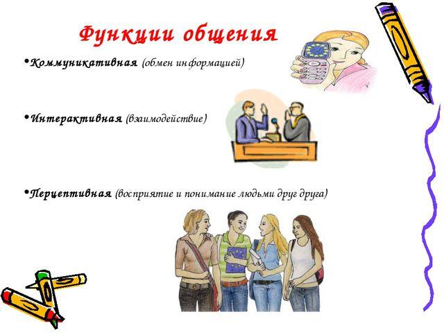 Функции общения Коммуникативная (обмен информацией) Интерактивная (взаимодейс...