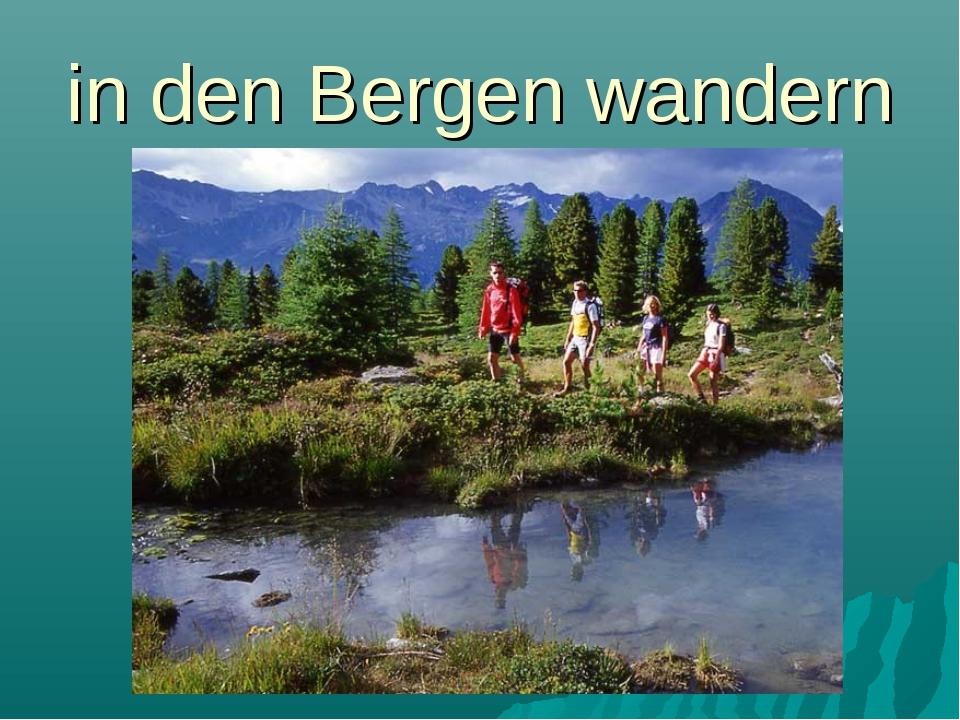 in den Bergen wandern