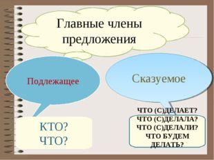 Главные члены предложения Подлежащее Подлежащее Сказуемое КТО? ЧТО? ЧТО (С)ДЕ