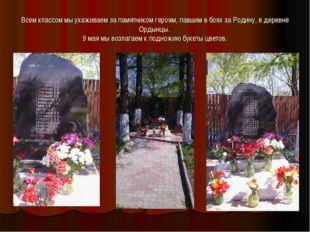 Всем классом мы ухаживаем за памятником героям, павшим в боях за Родину, в де