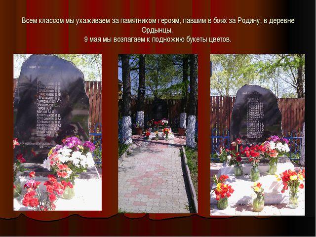 Всем классом мы ухаживаем за памятником героям, павшим в боях за Родину, в де...