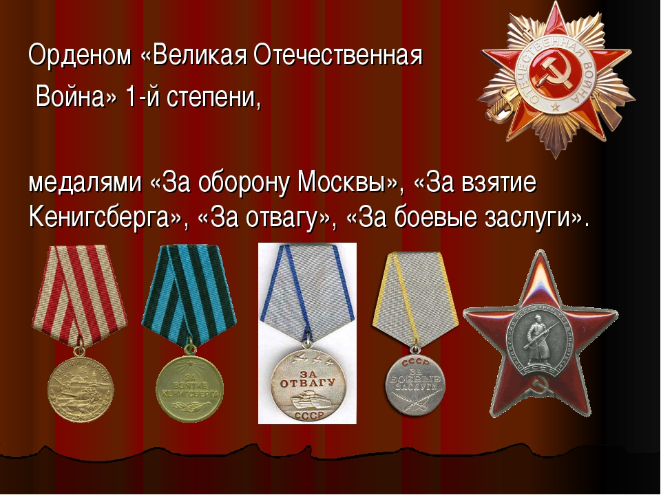 Орденом «Великая Отечественная Война» 1-й степени, медалями «За оборону Москв...