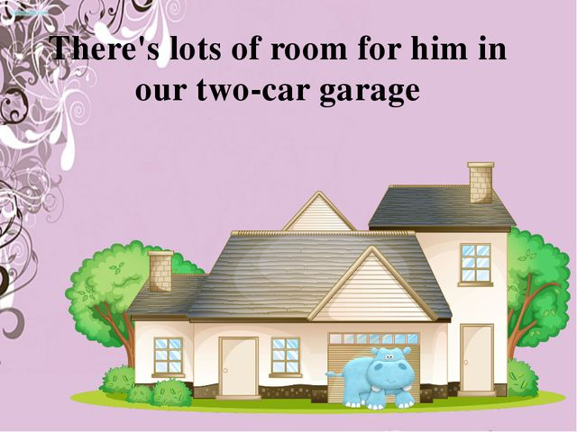 There's lots of room for him in our two-car garage