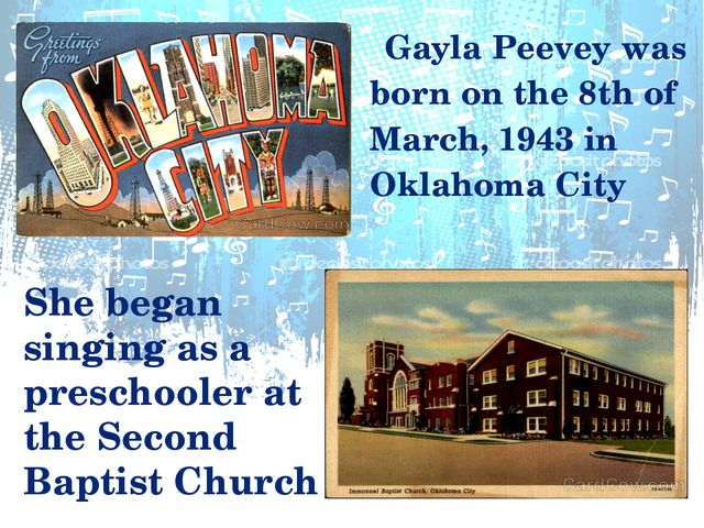 Gayla Peevey was born on the 8th of March, 1943 in Oklahoma City She began s...
