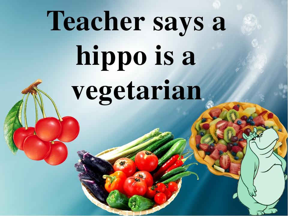 Teacher says a hippo is a vegetarian