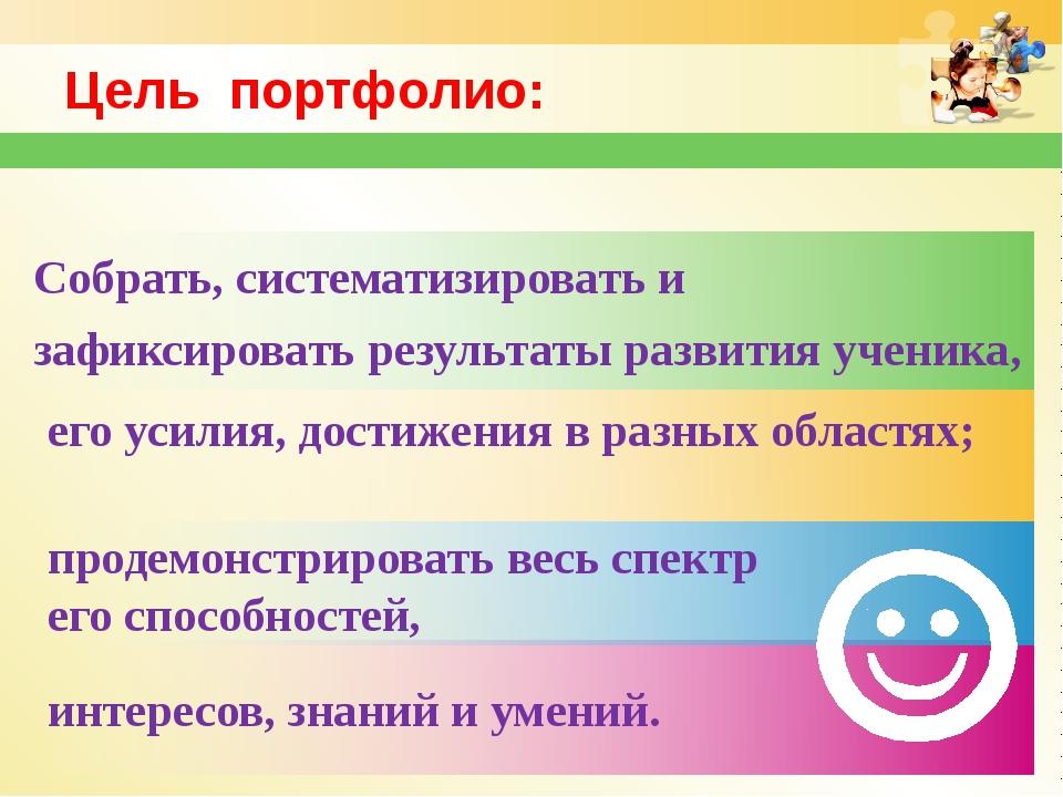 www.themegallery.com Цель портфолио: интересов, знаний и умений. продемонстри...