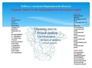 Работа с атласом Воронежской области Задание: нанести месторождения на контур