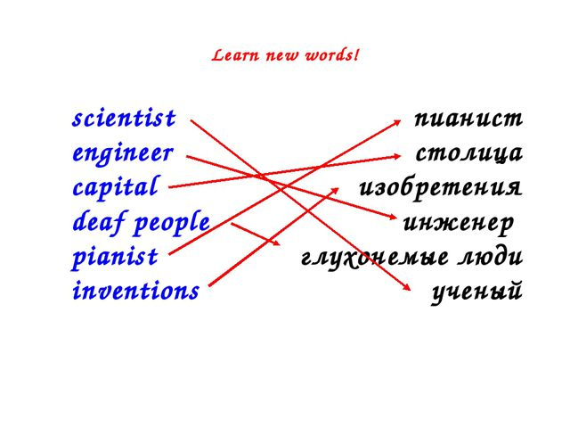 Learn new words! scientist engineer capital deaf people pianist inventions пи...