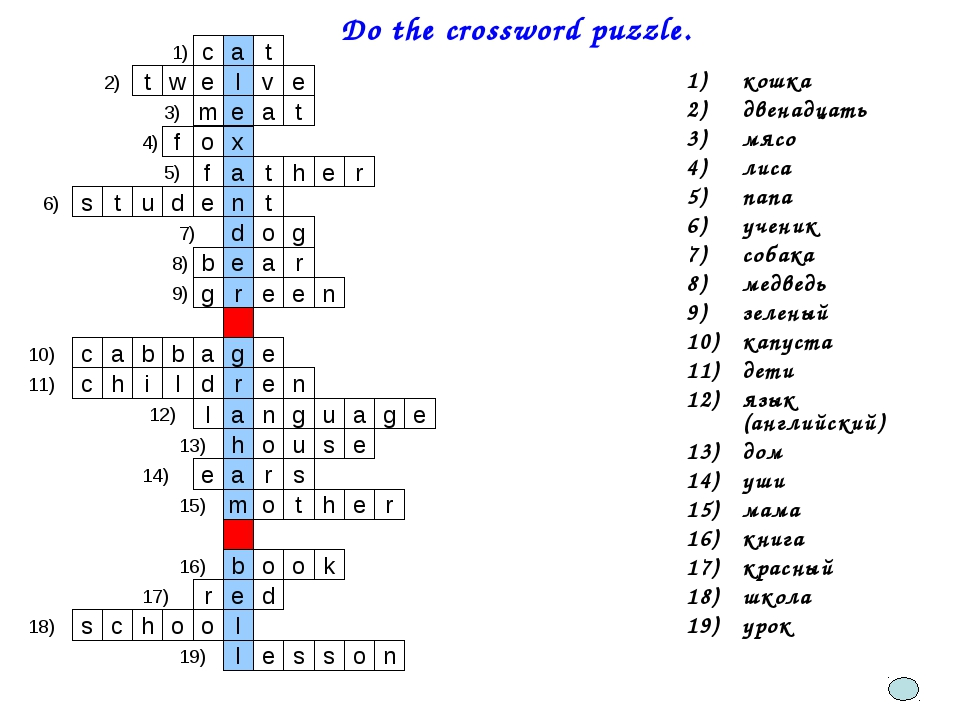 Do the crossword puzzle. кошка двенадцать мясо лиса папа ученик собака медве...