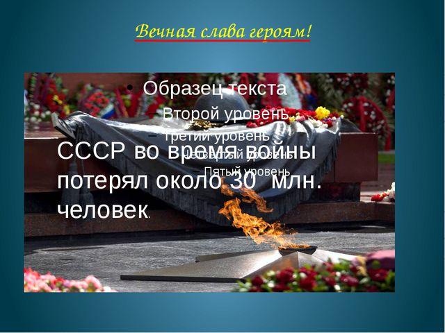 Вечная слава героям! СССР во время войны потерял около 30 млн. человек.
