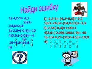 1)-4,2-5= 4,7 2)21-24,6=3,4 3)-2,5(-0,4)=-10 4)3,6:(-0,09)=-4 5)-15+4,2=11,