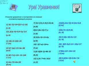 Решите уравнения и постройте по точкам соответствующий рисунок. 1) 3(х-5)+10=