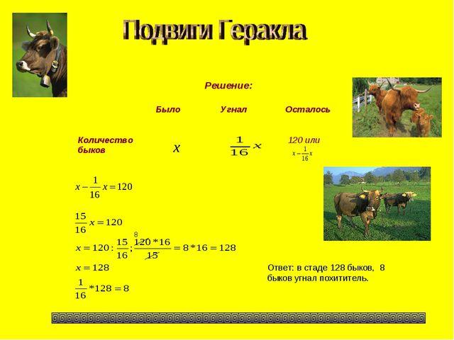 Решение: Ответ: в стаде 128 быков, 8 быков угнал похититель. 8 БылоУгналОс...