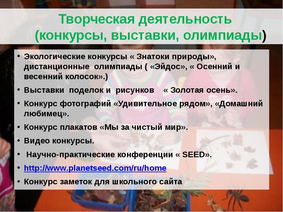 Творческая деятельность (конкурсы, выставки, олимпиады) Экологические конкур...
