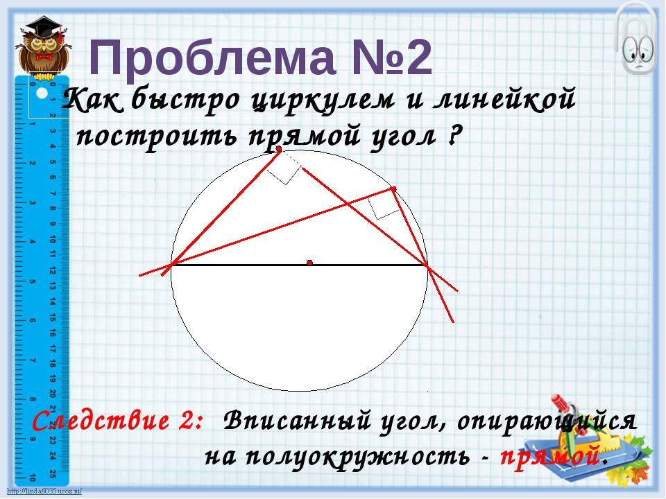 Как быстро циркулем и линейкой построить прямой угол ? Следствие 2: Вписанны...