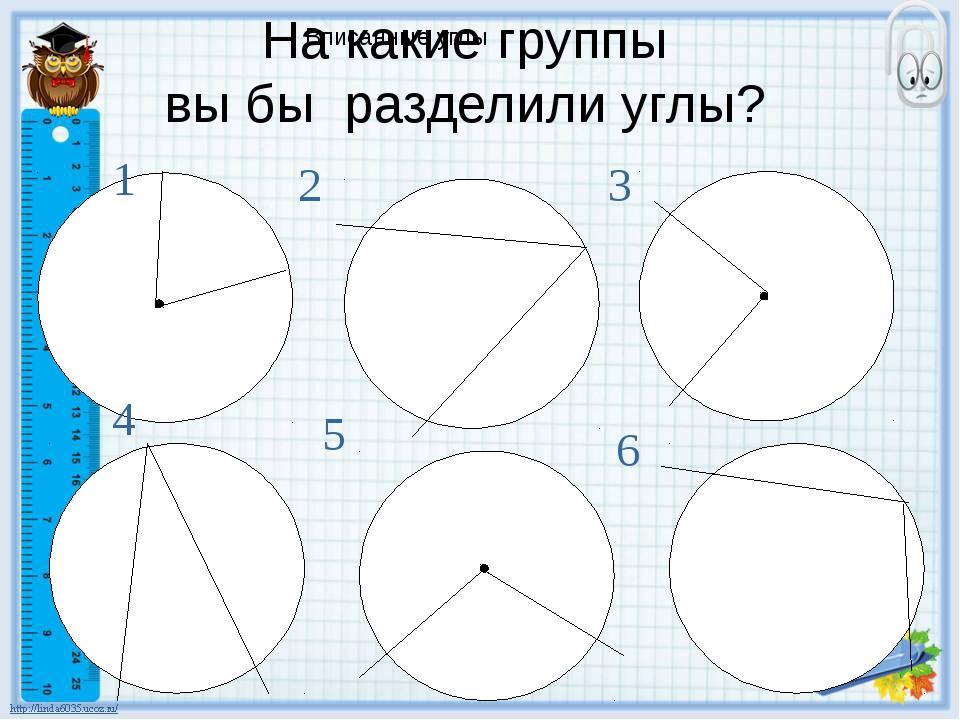 Вписанные углы На какие группы вы бы разделили углы? 1 2 3 4 5 6