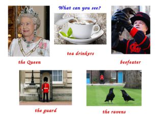 What can you see? the Queen tea drinkers beefeater the guard the ravens