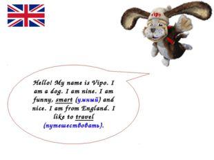 Hello! My name is Vipo. I am a dog. I am nine. I am funny, smart (умный) and