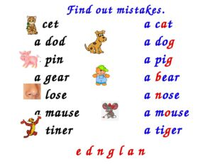 Find out mistakes. a cet a dod a pin a gear a lose a mause a tiner a cat a do