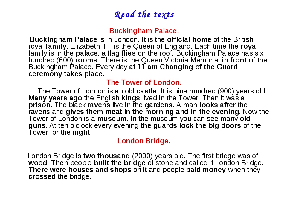 Read the texts Buckingham Palace. Buckingham Palace is in London. It is the o...