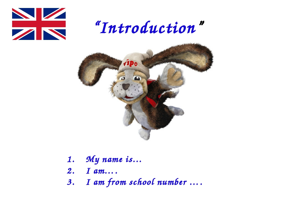 """""""Introduction"""" My name is… I am…. I am from school number …."""