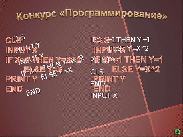 CLS PRINT Y INPUT X IF X>0 THEN Y=X^2 	ELSE Y=X END IF X>=1 THEN Y=1 		ELSE Y...