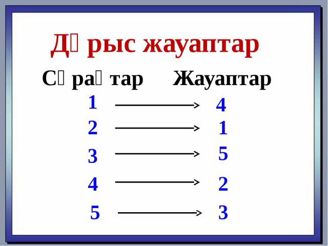 Дұрыс жауаптар СұрақтарЖауаптар 1 2 3 4 5 4 1 5 2 3