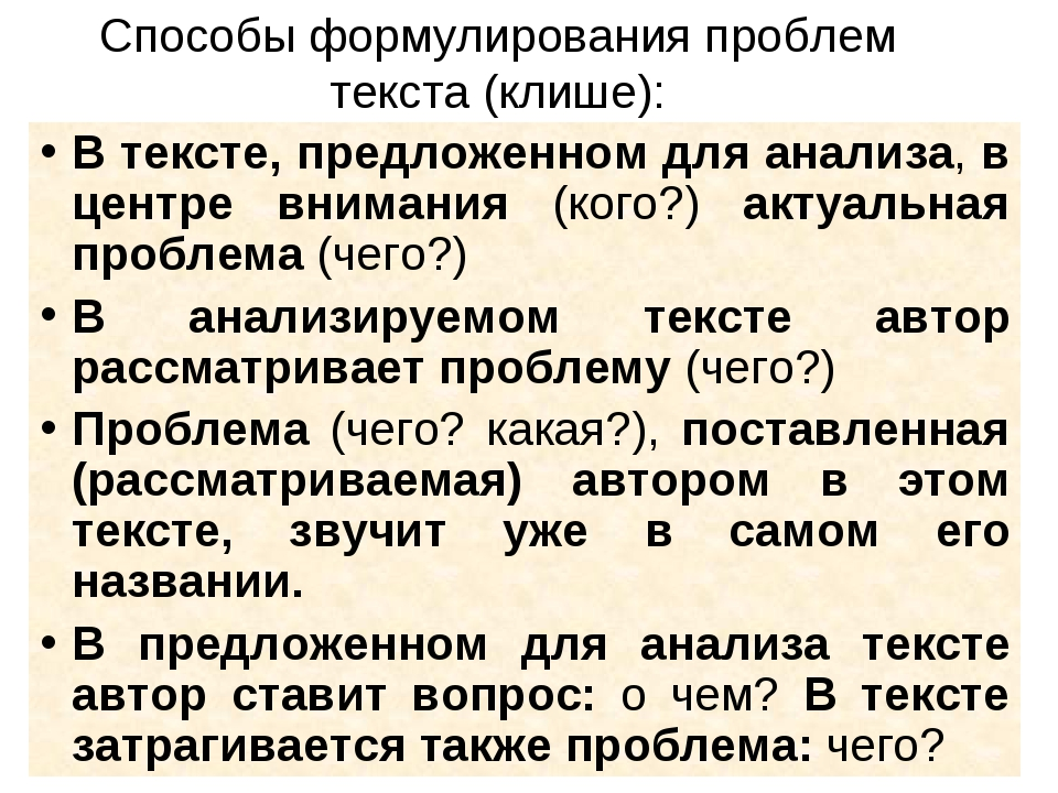 Способы формулирования проблем текста (клише): В тексте, предложенном для ана...