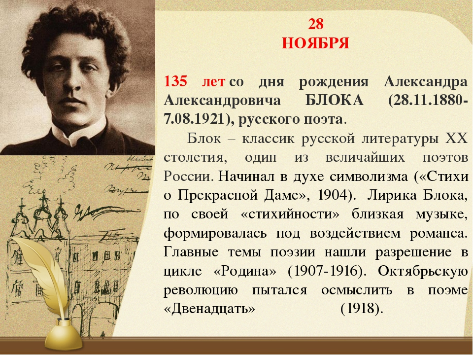 28 НОЯБРЯ 135 летсо дня рождения Александра Александровича БЛОКА (28.11.1880...