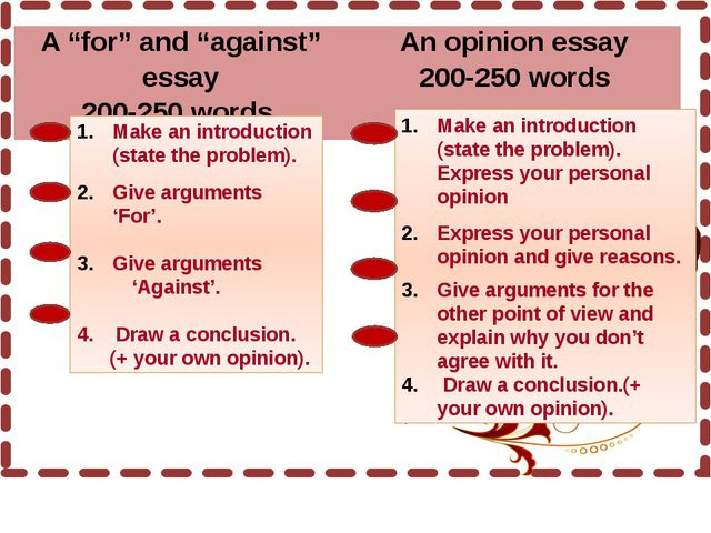 Make an introduction (state the problem). Give arguments 'For'. Give argumen...