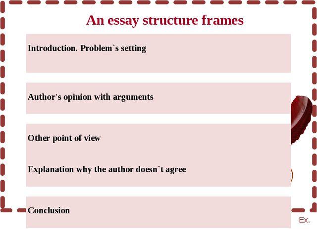 An essay structure frames Ex.  Introduction. Problem`ssetting  GAP  Author...