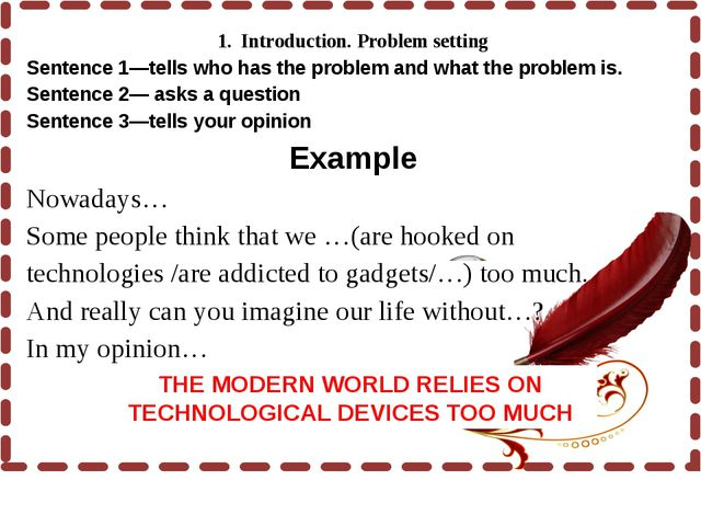 1. Introduction. Problem setting Sentence 1—tells who has the problem and w...