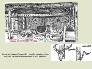В центре хадзара (гостиной), у столба, находился очаг, над ним в крыше оставл