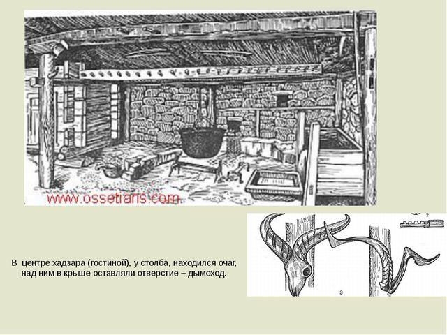 В центре хадзара (гостиной), у столба, находился очаг, над ним в крыше оставл...