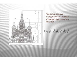 Пропорции храма определяются восемью членами ряда золотого сечения: