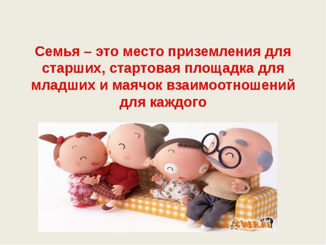 Семья – это место приземления для старших, стартовая площадка для младших и м...
