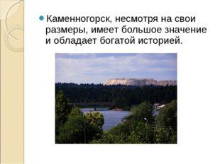 Каменногорск, несмотря на свои размеры, имеет большое значение и обладает бог