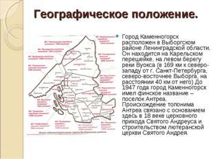 Географическое положение. Город Каменногорск расположен в Выборгском районе Л