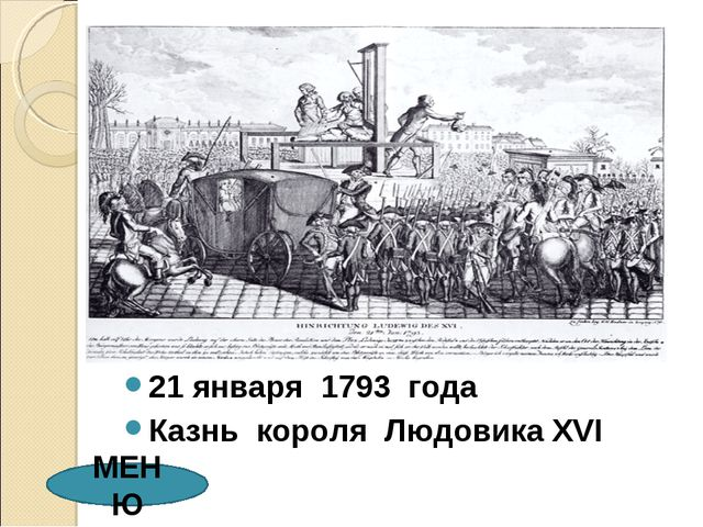 21 января 1793 года Казнь короля Людовика XVI МЕНЮ