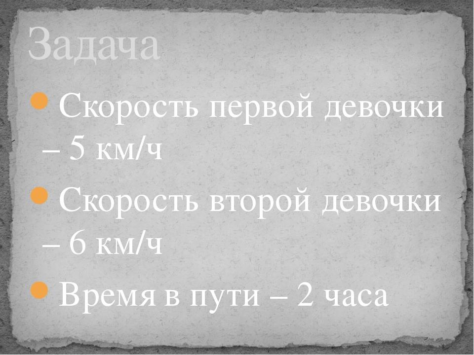 Скорость первой девочки – 5 км/ч Скорость второй девочки – 6 км/ч Время в пут...