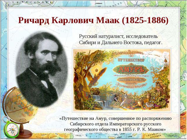Ричард Карлович Маак (1825-1886) Русскийнатуралист, исследователь СибирииД...