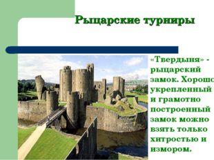 Рыцарские турниры «Твердыня» - рыцарский замок. Хорошо укрепленный и грамотно