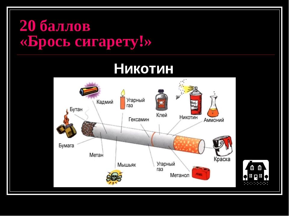 20 баллов «Брось сигарету!» Никотин