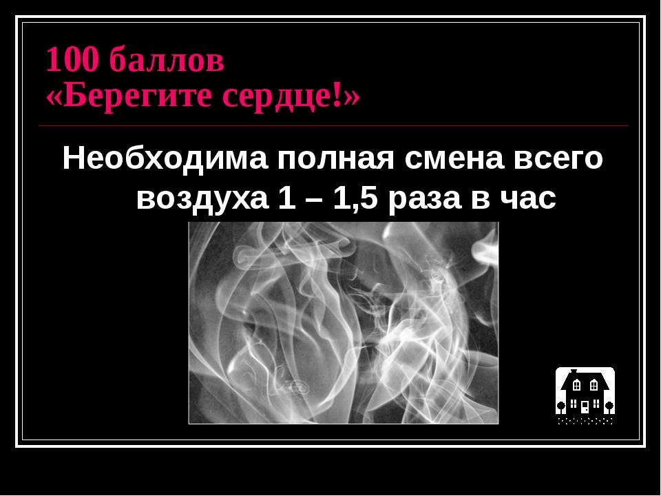 100 баллов «Берегите сердце!» Необходима полная смена всего воздуха 1 – 1,5 р...