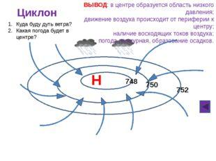 В Антициклон 760 762 758 ВЫВОД: в центре образуется область высокого давлени