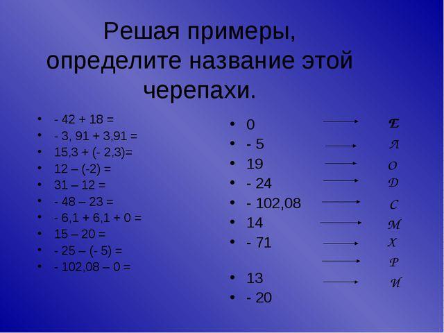 Решая примеры, определите название этой черепахи. - 42 + 18 = - 3, 91 + 3,91...