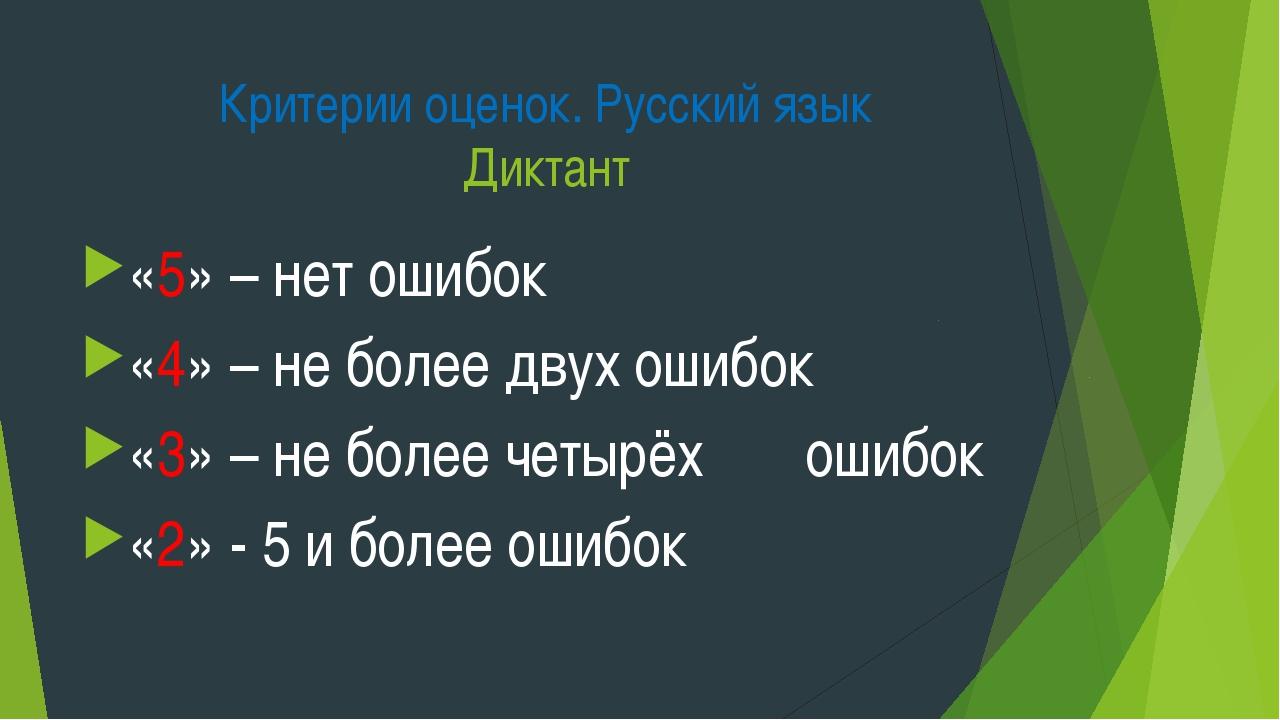 Критерии оценок. Русский язык Диктант «5» – нет ошибок «4» – не более двух ош...