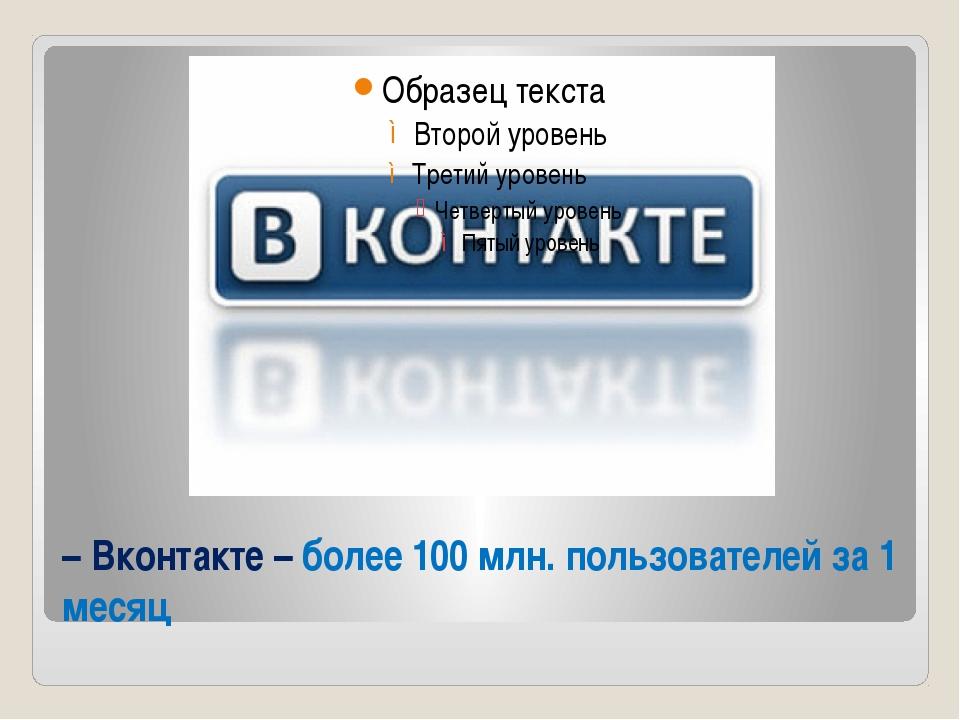 – Вконтакте – более 100 млн. пользователей за 1 месяц